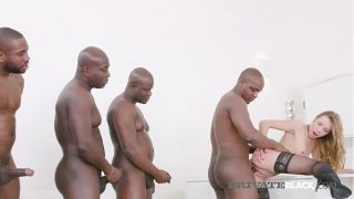 Blonde Alexis Crystal Fucks 4 Black Stallions