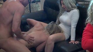 Four horny sluts sucking and fucking an amateur swinger orgy xxx
