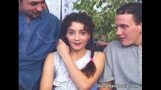 Intense gang bang action with sweet teen