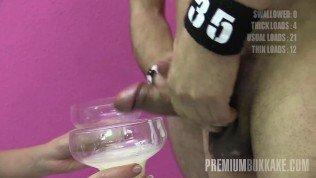 Premium Bukkake – Eva swallowing 71 huge mouthful cumshots