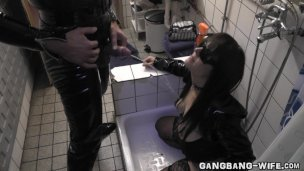 Wife gangbanged and pissed on by lots of guys